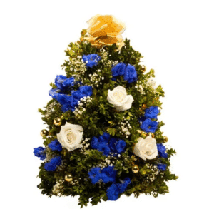 mini christmas tree with blue and white flowers