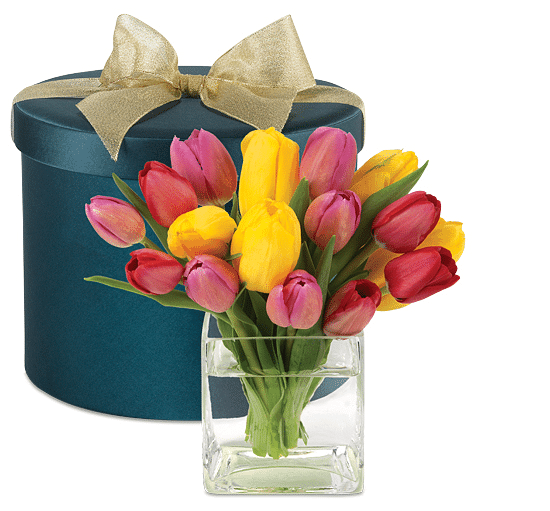 tulips with hatbox