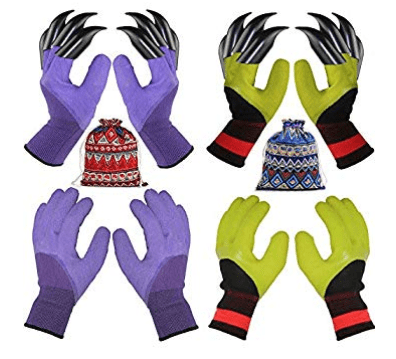 4 Pairs Garden Gloves with Fingertips Claws